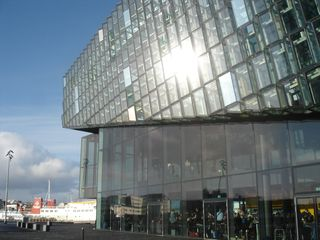 Harpa outside Saturday morning
